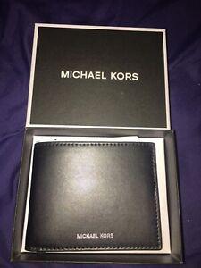 Brand New In Box Michael Kors Mens Leather Wallet Billfold Black Great Gift