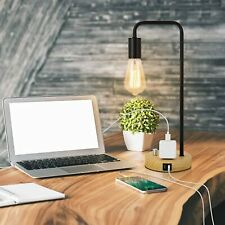 Industrial Table Lamp With Dual Usb Port And Ac Outlet Vintage Edison Desk Lamp