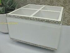 BELLA LUX WHITE RHINESTONE Crystals Glass Makeup Spin Caddy Vanity Bath Bathroom
