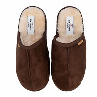 Mens Ben Sherman La Faena Mule Slipper In Brown- Slip On- Cushioned Insole- Soft