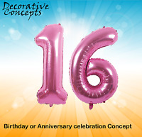"""Giant 16th Birthday Party 40"""" Foil Balloon Helium Air Decoration Age 16 PINK"""