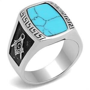 RING MASONIC High polished Stainless Steel Ring with Synthetic Turquoise TK3044