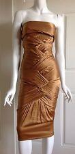 Gucci Tom Ford Seta Silk Gold Dress 40 IT 4 US 2