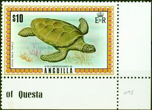 Anguilla 1972 $10 Green Back Turtle SG144a Very Fine MNH
