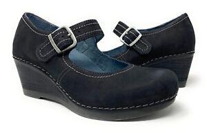 Dansko Sandra Wedge Mary Jane Shoes Size 37 US 6.5 -7 Black Nubuck Buckle Strap