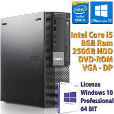PC COMPUTER DESKTOP FISSO DELL RICONDIZIONATO CORE i5-650 8GB 250GB WIN 10 PRO