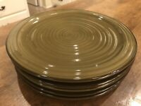 "Set of 5 -  ARTIMINO Ironstone 11"" Dinner Plates VILLA CORTONA Green EUC"
