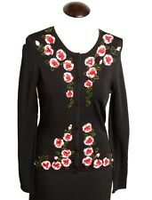 ETINCELLE Black Button Cardigan Sequin Beads Roses Floral New NWOT L Large LG