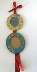 Michel Studio Double Picture Frame hung with Ribbon Victorian Floral Oval 3x4