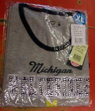 G-III Sports Womens XL Michigan Wolverines Silver Bling Grey/Blue T-Shirt