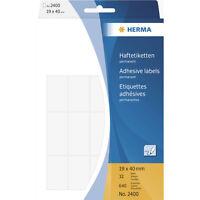 Herma 2400 Haftetiketten 19 x 40 mm weiß 32 Blatt 640 Etiketten skl. NEU & OVP