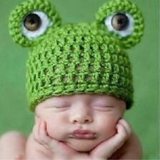 1PC Handmade Baby Girl Boy Soft Prop Green Crochet Knit Frogbaby Infant  Hat