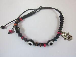 Black String Eye Bracelet Hamsa with Star of David Charm Made in Israel