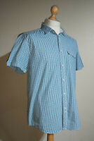 Levi's Gingham Check Short Sleeved Shirt Mens Size L Regular Fit Blue/White