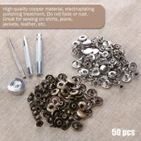 50set Leder Nieten Doppelkappe Nieten mit Fixing Tool Kit für Leder Handwerk Neu