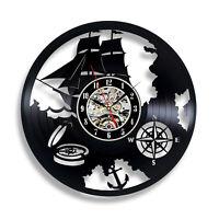 Hand wheel Ship Sea Captain Marina navigation Vinyl Wall Clock Gift For man
