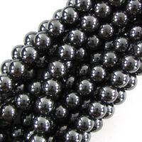 "Hematite Round Beads Gemstone 16"" Strand 2mm 4mm 6mm 8mm 10mm 12mm"
