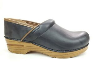 Dansko Distressed Marbled Gray Leather Staple Comfort Clogs Size 38 US 7.5-8
