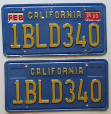 California 1983 License Plate PAIR - NICE QUALITY # 1BLD340