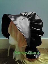 Black Satin Adult Baby Fancy Dress Bonnet Hat Cap Victorian Edwardian Maid