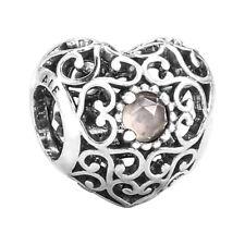 Authentic Pandora June Signature Heart Sterling Gray Moonstone Charm 791784MSG
