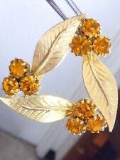VINTAGE  COSTUME JEWELRY BRIGHT ORANGE RHINESTONE GOLD METAL PIN BROOCH