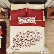 FLOWERS CHERRY BLOSSOM Blanket Comforter Reversible KING GIFT Girls Red 4 PCS