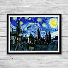 Harry Potter print Hogwarts Castle Vintage, Starry Night Van Gogh A4