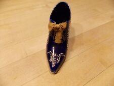 Antique Royal Bayreuth Porcelain Shoe Cobalt Blue with Beads & Original Laces