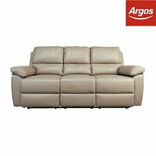 Argos Home Toby 3 Seater Leather Effect Recliner Sofa - Grey