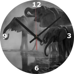 WALL CLOCK ELEPHANT 25cm Clock Wildlife Animal Family Nature Home Decor 1069