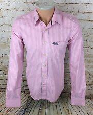 Superdry Formal Dress Shirt Long Sleeve Pink Candy Stripe Sz Medium / M Mens