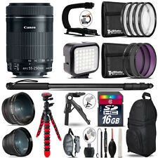 Canon EFS 55-250mm IS STM -Video Kit + LED KIt + Monopad - 16GB Accessory Bundle