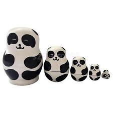 Panda Bear 5pcs Russian Wooden Nesting Doll Matryoshka Stacking Dolls Russia