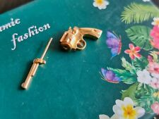 925 Silver Gold Filled Stud Earring Golden Gun