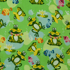 Freddie the Frog - 100% Cotton Fabric - Kids / Nursery - Green - by 1/2 Metre