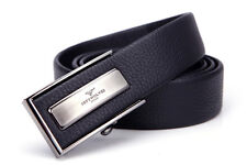 Men Belt Real Genuine Cow Leather Plate Auto Lock Buckle Casual Black 319497000
