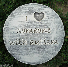 """""""I love someone with autism"""" plaque plastic mold for plaster concrete mould"""