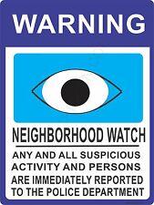 "Neighborhood Watch Sign -Extra Large 12"" X 18"" - New prevent theft & vandalism"
