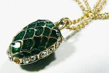 "Vintage gold tone metal green Enamel Crystal egg pine cone pendant necklace 25""L"
