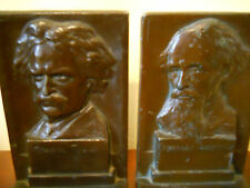 ANTIQUE BRONZE MARK TWAIN & CHARLES DICKENS LITERARY AUTHORS BOOKENDS