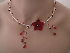Collier Rouge/Bordeaux p robe de Mariée/Mariage/Soirée Fleur + perles original