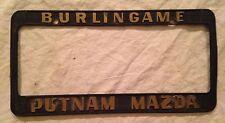 Burlingame CA Putnam Mazda SF Bay Area License Plate Frame RX7 Miata MX-5 MX-7