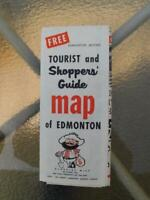 MAP EDMONTON CANADA TOURIST AND SHOPPERS GUIDE KLONDIKE MIKE WELCOMES YOU