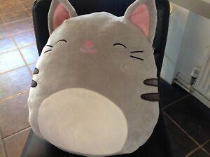 "Genuine Squishmallows Rare Grey Cat   14"""