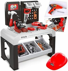 Children Workbench 3+ with Drill Helmet Workbench Tool Bench 47 Pieces Christmas