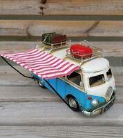 VW Style Camper Van Rustic Shabby Tin Metal Model Ornament Luggage Side 28cm