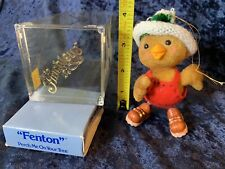 Vintage 70s Flocked Anthropomorphic 4� Bird In Boots And Overalls Hat Ornament