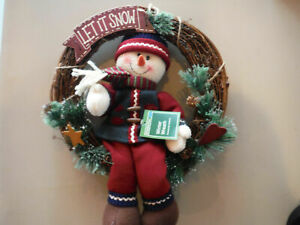 NWT Holiday Time Snowman Wooden Wreath - #AF
