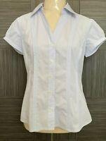 Basque Petite Womens Blue Pinstriped Cap Sleeve Button Up Blouse Size 10